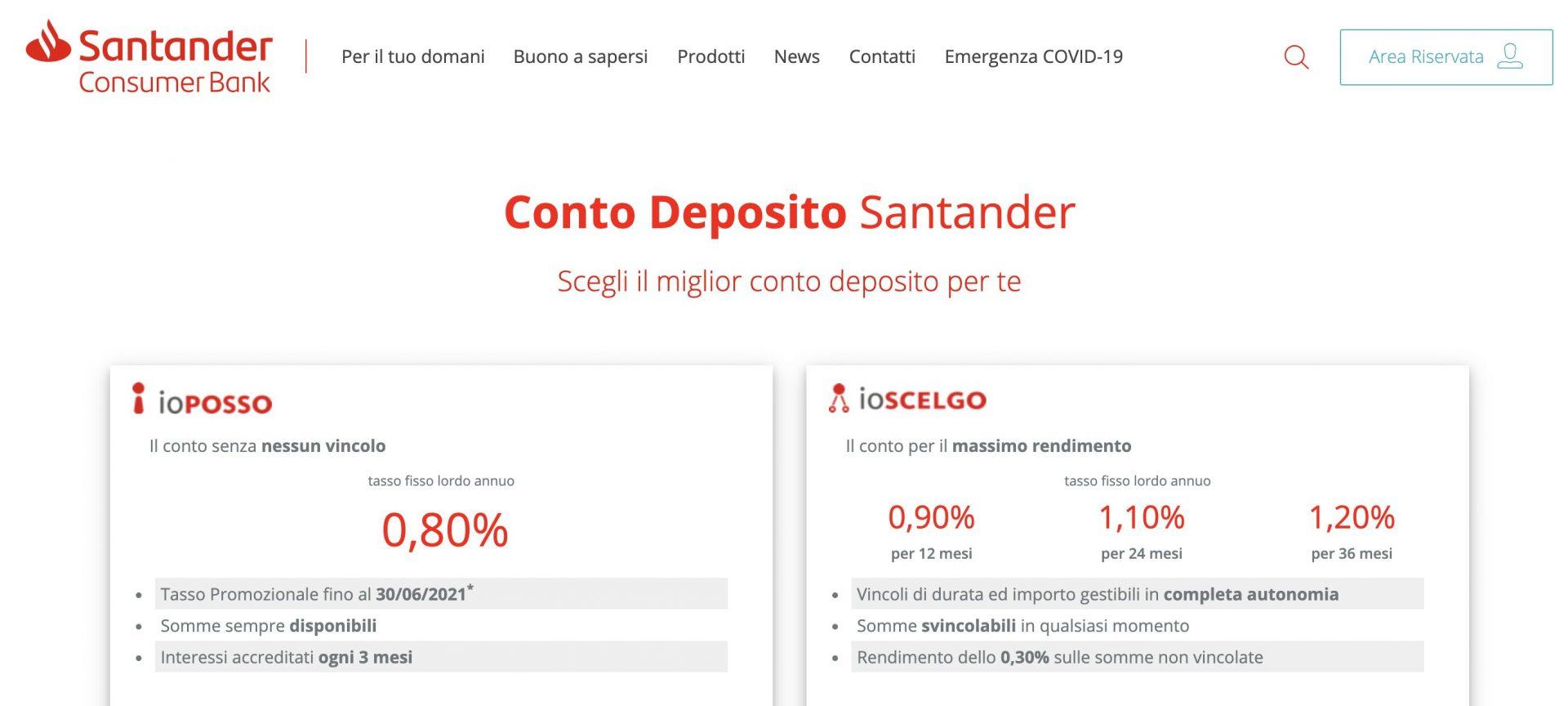 Conto Deposito Santander Opinioni Top Promo Interessi 1 20